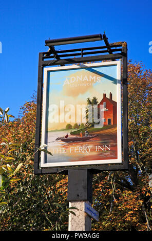 A roadside inn sign for The Ferry Inn on the Norfolk Broads at Stokesby, Norfolk, England, United Kingdom, Europe. - Stock Image