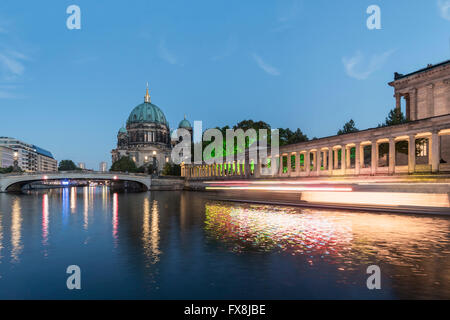 German Cathedral at night, Spree River, Berlin, Germany, Europe - Stock Image
