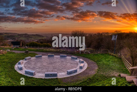 Derbyshire Dales, Peak District. 8th Jan 2019. UK Weather: spectacular sunset at the StarDisc looking over  Wirksworth in the Derbyshire Dales, Peak District HDR image Credit: Doug Blane/Alamy Live News - Stock Image