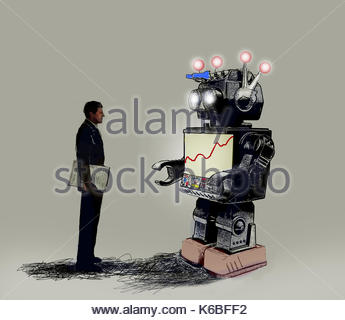 Businessman looking at line graph on robot display screen - Stock Image