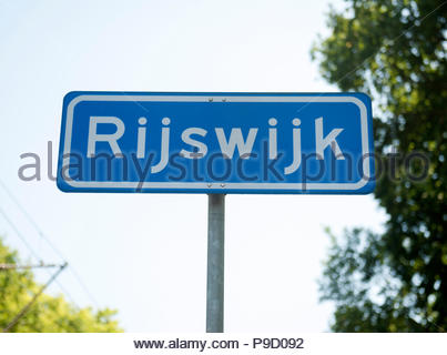 Rijswijk The Netherlands  Town entry sign. - Stock Image