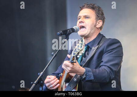 London, UK. 17th Mar, 2019.  Stage performance (artist to follow). Following the spectacular St Patrick's Day Parade earlier, people celebrate and watch performances on Trafalgar Square in the heart of London. Credit: Imageplotter/Alamy Live News - Stock Image
