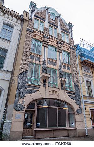 Art deco building in Tallinn, Estonia, Pikk Street 18. - Stock Image