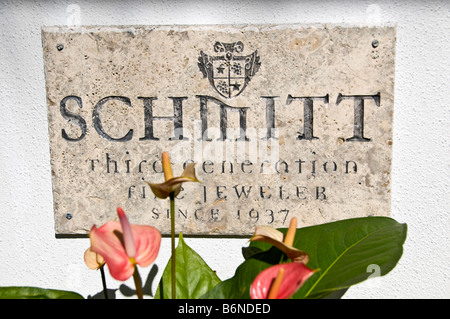 jewelers sign Fifth Avenue South 5th Avenue South schmitt jeweler shops Naples Florida - Stock Image