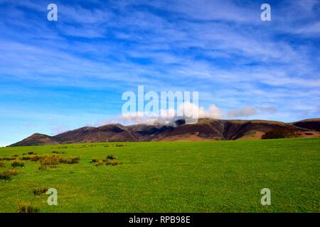 Keswick,view of Skiddaw covered in low cloud,Cumbria,England,UK - Stock Image
