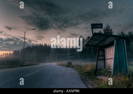 Midsummer night scene from central Finland - Stock Image