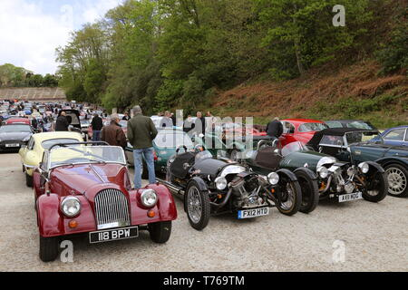Morgan 4/4 and Morgan Three Wheelers, British Marques Day, 28 April 2019, Brooklands Museum, Weybridge, Surrey, England, Great Britain, UK, Europe - Stock Image