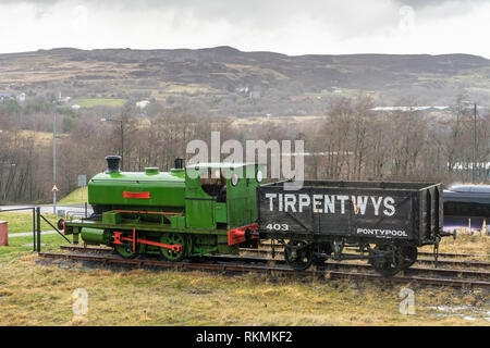 Steam locomotive and train in the Big Pit National Coal Museum in Blaenavon, Pontypool in South Wales, UK - Stock Image