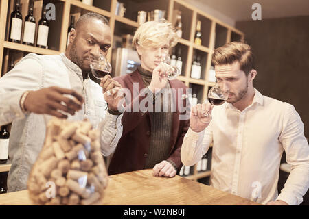 Friends at a wine tasting in a wine shop smell of glasses with red wine - Stock Image
