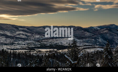 View of Yosemite Valley from Highway 120 on a winters day- winter landscape - Stock Image