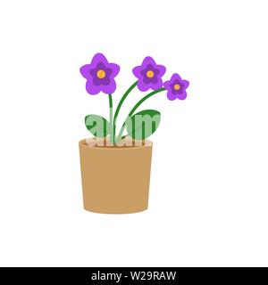 Violet flower in a pot flat icon, indoor plant, flower vector illustration isolated on white background - Stock Image