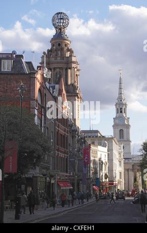 View along St Martins Lane London - Stock Image