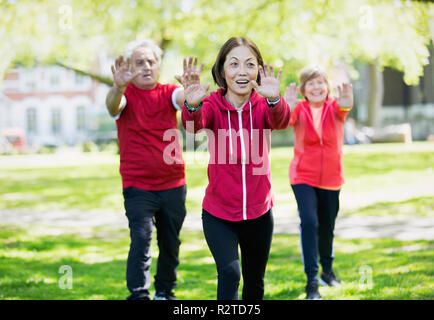 Active seniors practicing tai chi in park - Stock Image