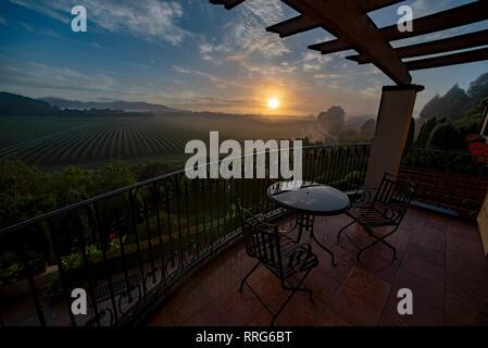 Balcony overlooking a vineyard at Napier, North Island, New Zealand. - Stock Image