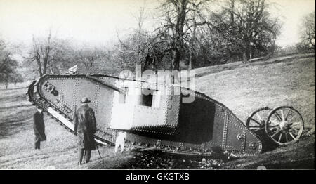 Mother, Prototype Mark I Tank, on test in Burton Park, Lincoln, on the 21st January 1916 - Stock Image