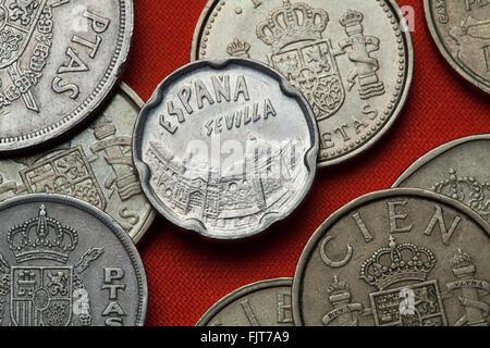 Coins of Spain. Seville landmarks depicted in the Spanish 50 peseta coin (1990). - Stock Image