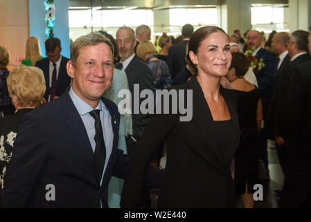 Riga, Latvia. 8th July 2019. Arturs Skrastins an actor of Daile theatre and Ilze Kuzule Skrastina, actress of Daile theatre Reception in honour of the inauguration of President of Latvia Mr Egils Levits accompanied by First Lady of Latvia Mrs Andra Levite. Credit: Gints Ivuskans/Alamy Live News - Stock Image