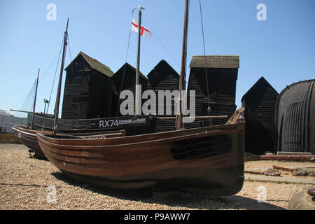 Hastings, UK -July 14 2018: The fishing boat seen at the Fishermen's Museum at the seaside town of the fishing port of Hastings on a hot summers day as the temperatures sore to above 27 degrees on 14 July 2018.  Hastings on the south coast of England is 53 miles south-east of London and is 8 miles from where the  Battle of Hastings took place in October 1066. Credit: David Mbiyu /Alamy Live News - Stock Image