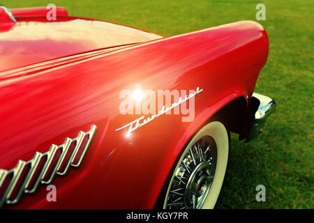 Red Thunderbird classic car - Stock Image