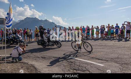 Mikel Nieve Tour de France 2018 cycling stage 11 La Rosiere Rhone Alpes Savoie France - Stock Image