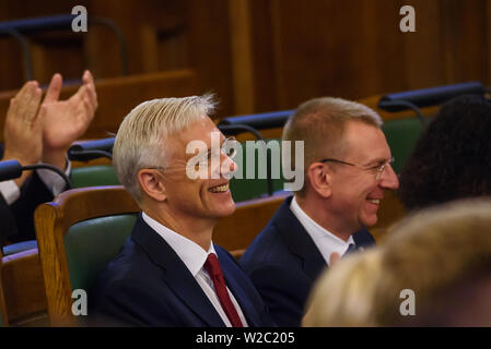 RIGA, LATVIA. 8th of July 2019. Krisjanis Karins, Prime Minister of Latvia participates, Newly elected President of Latvia, Egils Levits Solemn oath and address at the extraordinary session of the Saeima (Latvian parliament). Credit: Gints Ivuskans/Alamy Live News - Stock Image