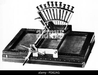 Louis Braille, Foucauld Apparatus to produce embossed writing for blind or limited vision people to be able to read - Stock Image