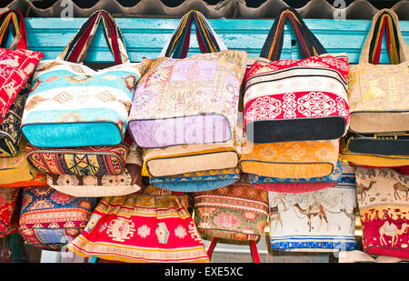 Traditional handbags on sale at a souvenir store in Turkey - Stock Image