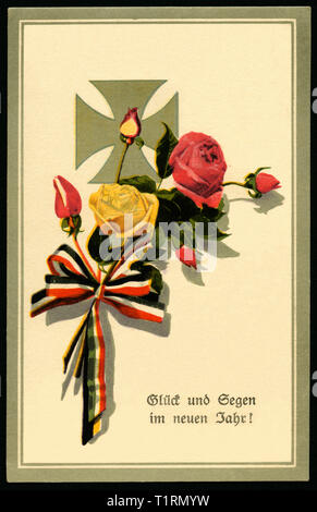 Germany, Schleswig-Holstein, Lübeck, WW I, propaganda, patriotic New Year`s postcard with the text ' Glück und Segen im neuen Jahr' (luck and blessing in the new year), postcard sent 29. 12. 1915. , Additional-Rights-Clearance-Info-Not-Available - Stock Image