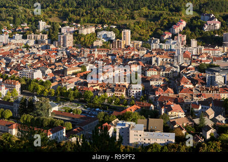 Aerial view at sunset of the rooftops of Gap. Hautes-Alpes, PACA Region, France - Stock Image