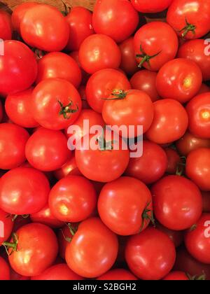 A full frame background of ripe red tomatoes on a market stall with copy space - Stock Image