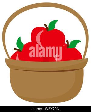 apple basket red full farm nature illustration - Stock Image