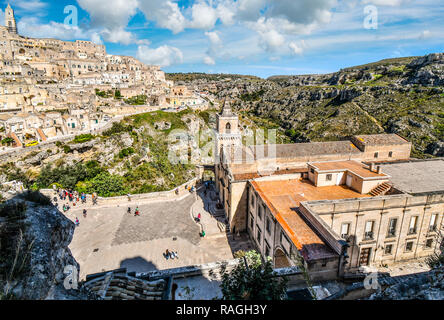 The steep cliffs and canyons of the ancient city of Matera, Italy, taken from the Madonna de Idris church in the Basilicata region. - Stock Image
