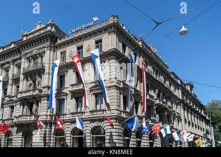 Paradeplatz, UBS, Credit Suisse,  Swiss flags,1. August, national holyday, Switzerland, Zurich, - Stock Image