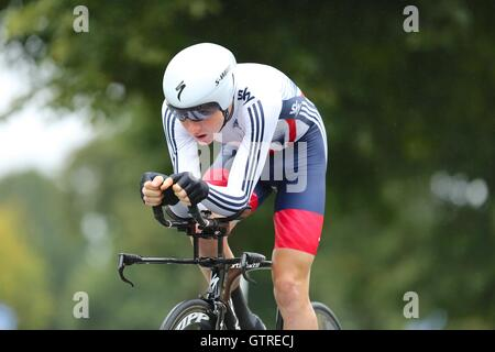 Bristol, UK.  10th September 2016. Tour of Britain stage 7a, time trial. Tao Geoghegan Hart of Team Great Britain - Stock Image