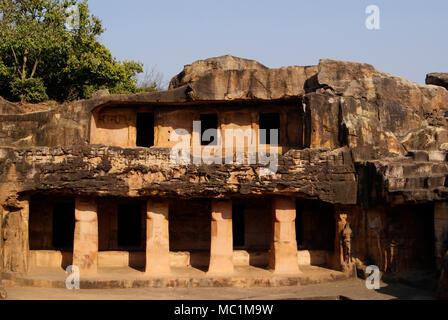 Rani Gumpha 'Cave of the Queen' popular cave among the caves of Udayagiri and Khandagiri at  Bhubaneswar Odisha India - Stock Image