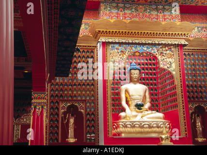 Tibetan Buddhist shrine room in Le Boste France - Stock Image