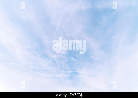 Light cloudy sky. Cloudscape at sunny day for natural background - Stock Image