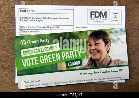 Green Party EU election leaflet and poll card for the European Parliament London Region.  Islington North - Stock Image