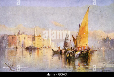 An artistic, misty and watery view of Venice, Italy - Stock Image