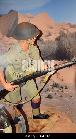 Scene from WWII, Middle East, Essex Regiment Museum, Oaklands House, Chelmsford, Essex, UK - Stock Image