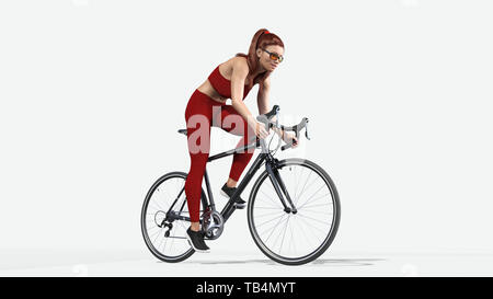 Girl with long hair on bicycle, athletic woman in sports outfit riding a bike on white background, 3D rendering - Stock Image