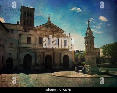 View of classical Roman building at Isola Tiberina in Rome, Italy. Vintage paper texture overlay. - Stock Image