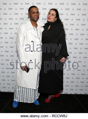 Celebrities attend ÁME Jewelry Launch Event at Eric Buterbaugh Gallery  Featuring: Law Roach, Ginnina D'Orazio Where: Santa Monica, California, United States When: 13 Dec 2018 Credit: Brian To/WENN.com - Stock Image