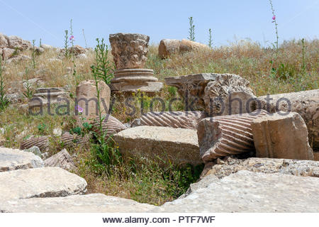 Broken Ancient Ruins Surrounded by Growing Weeds in Jerash Jordan - Stock Image