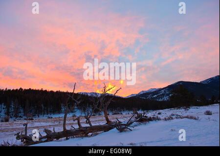Rocky Mountain National Park, sunset, winter, - Stock Image