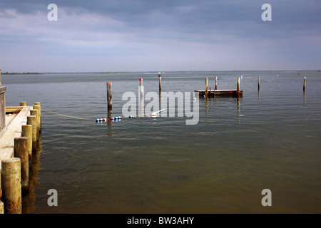 Dock and swimming float in the Great South Bay, Fair Harbor, Fire Island, NY - Stock Image