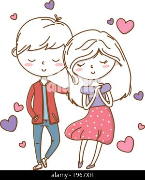 Romantic love couple cute stylish outfit dress jacket heart vector illustration graphic design - Stock Image