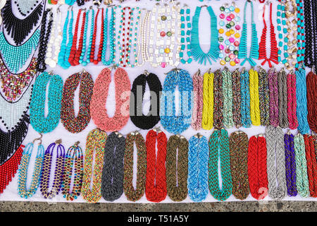 Cartagena Colombia Old Walled City Center centre Centro store shopping display sale bead necklaces colorful - Stock Image