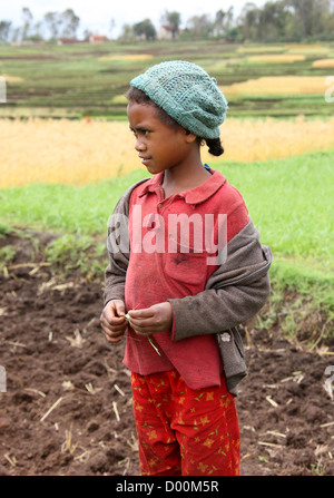 Malagasy Girl From a Farming Community Near Lake Tritriva, Madagascar, Africa. - Stock Image