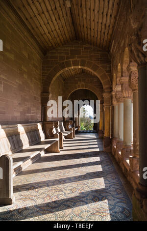 The Cloisters St Catherine church Hoarwithy, with it's mosaic floor and Romanesque carvings. Herefordshire England UK. February 2019. - Stock Image